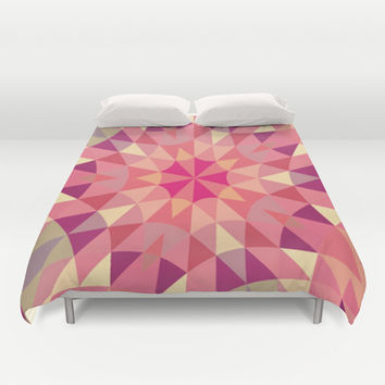 Warm Pink Retro Geometry Duvet Cover by 2sweet4words Designs