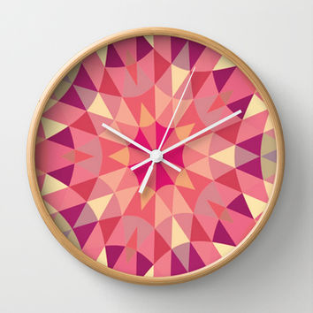Warm Pink Retro Geometry Wall Clock by 2sweet4words Designs | Society6