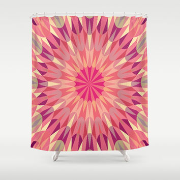 Warm Pink Retro Geometry #2 Shower Curtain by 2sweet4words Designs