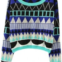 Geo Pattern Cropped Sweater - OASAP.com