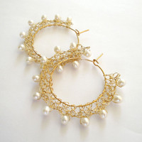 gold wire crochet earrings, bridal wedding pearl 24ct gold plated earrings