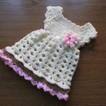 Crochet  baby dress in brown and pink newborn dress  baby clothes toddler dress Newborn take home dress Infant Outfit
