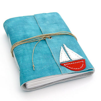 Nautical Summer Journal and Nautical Summer Sketchbook, A Handmade Leather Journal in Aqua