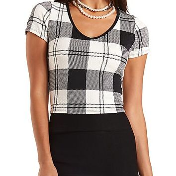 Textured Plaid Crop Top by Charlotte Russe - Black Combo