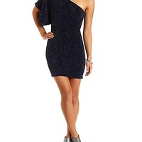 Glitter Bodycon One Shoulder Dress by Charlotte Russe - Navy Combo