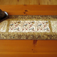 Quilted Table Runner Birds and Pine Cones Handmade Home Decor