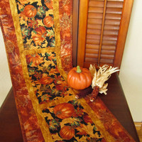 Handmade Quilted Table Runner Pumpkins and Leaves Fall Home Decor