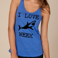 I LOVE SHARK week Girls Ladies Heathered Tank Top Shirt silkscreen screenprint Alternative Apparel