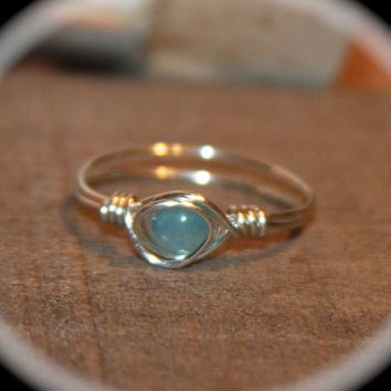 Pale Blue Amazonite Wire Wrapped Ring - blue Ring -  Thin Ring -  Midi Ring - knuckle Stacking Ring - Amazonite Wire Ring
