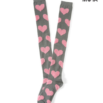 Aeropostale Fuzzy Heart Over-the-Knee Socks - Pink Cerise, One