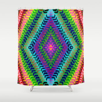 Psychedelic Chevron Shower Curtain by Webgrrl