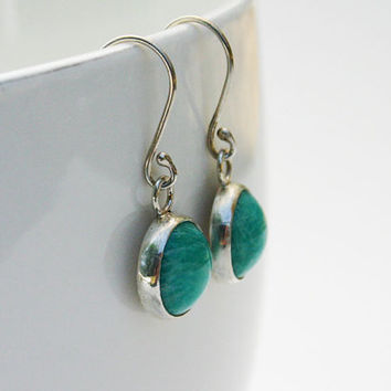 Amazonite earrings. Handmade round blue green amazonite gemstone and sterling silver earrings.