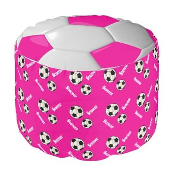 Soccer Hot Pink, White and Black Sport Pattern