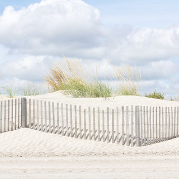 Sand dunes photo with beach grass and dune fence, blue gray and green Beach Photography