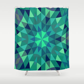 Teal Retro Geometry Shower Curtain by 2sweet4words Designs