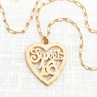 Sweet 16 Necklace, Sweet Sixteen Jewelry, Special birthday Gift, For Teen Girl, Teenager, Gold Heart Pendant, 16th Birthday, 527