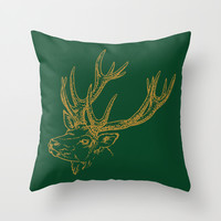 HOLIDAZE Christmas Deer Green Throw Pillow by Beautiful Homes