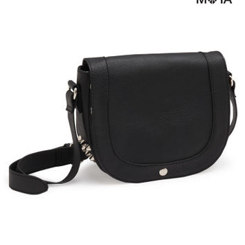Aeropostale Studded Faux Leather Crossbody Bag - Black, One