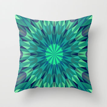 Teal Retro Geometry #2 Throw Pillow by 2sweet4words Designs