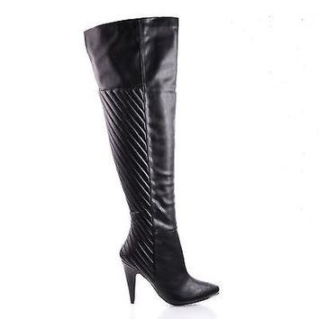 Grove Raceway Quilted Design Over The Knee Stiletto Boots