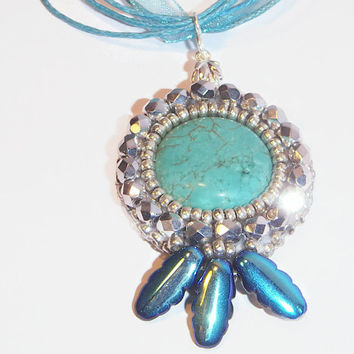 Bead Embroidery Handmade Pendant, Bead Emboidered Pendant with Turquise Cabochon for Her - Blue Moon