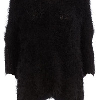 Black Feather Slouchy Jumper