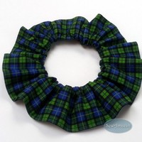 Blue and Green Tartan Plaid Pet Scrunchie Neck Ruffle, custom size