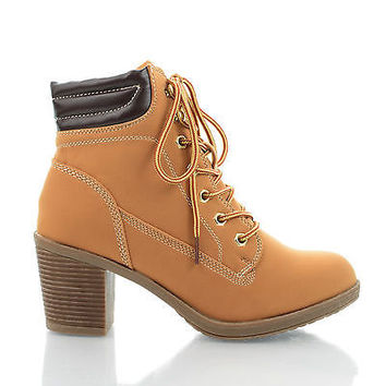 Essence47 Lace Up Chunky Heel Padded Ankle Booties