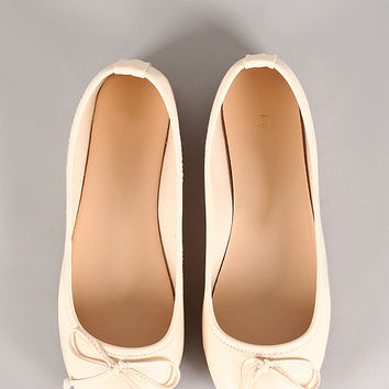 Leatherette Knot Bow Round Toe Ballet Flat