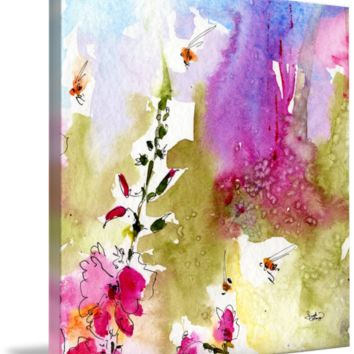 """""""Pink Lavatera Square Watercolor Ink by Ginett"""" by Ginette Callaway"""