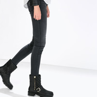Quilted leather low biker boot