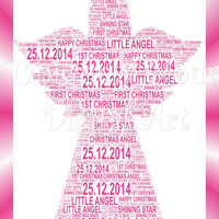 Babys 1st Christmas - Angel  - A4 Shaped Word Art Instant Download. Printable Art Christmas Decor, Xmas Decorations