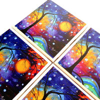 Ceramic Tile Coasters MADART Winter Sparkle Drink Set