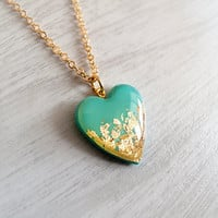 Turquoise Gold Heart Necklace - Adjustable Necklace