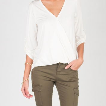 V Neck Collarless Blouse Top - Ivory - Ivory /