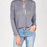 Thin Striped Side Slit Hooded Sweater Top - Navy/Gray /