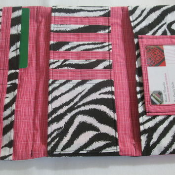 Zebra and Pink Trifold Clutch / Wallet for Women, Holds 22 cards, ID window, 3 full pockets, zippered pocket