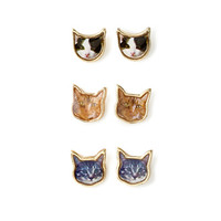 FOREVER 21 Kitty Face Stud Set Gold/Black One