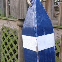 Navy blue and White Reclaimed Wooden Buoy Made to Order