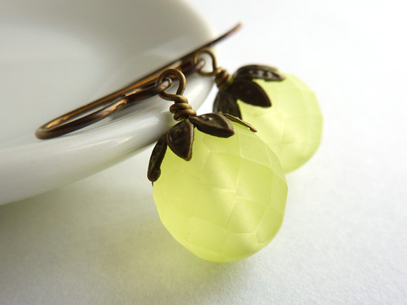 Bead Earrings, Yellow Glass, Hypoallergenic Earrings