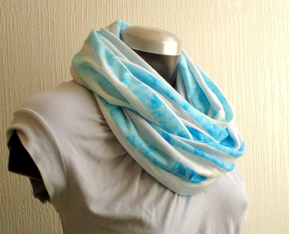 Infinity scarf, Spring scarf, washed turquoise blue jersey knit, light and cozy,EXTRA WIDE.READY To SHIp.