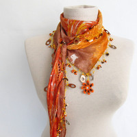 Triangle scarf - Golden - Orange Silk  fabric scarf  handmade scarf - turkish scarf - oya scarf -