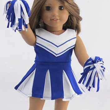3 Piece Blue Cheerleader Outfit for American Girl Doll Clothes