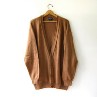 vintage oversized cardigan sweater. brown cotton long sweater. button up grandpa sweater