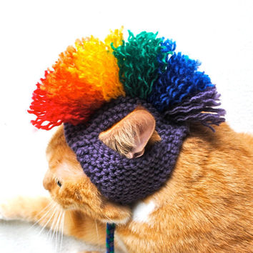 Cat Hat Costume - Purple and Rainbow Mohawk (READY TO SHIP)