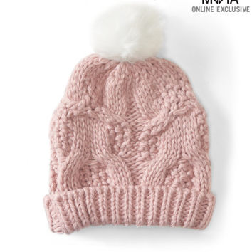 Aeropostale Cable-Knit Pom Hat