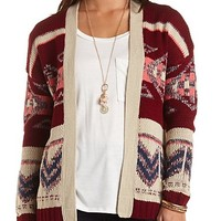 Aztec Print Open Front Cardigan by Charlotte Russe - Burgundy Cmb
