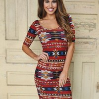 Short Sleeve Tribal Midi