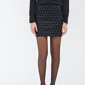 Geo-Patterned Faux Leather Skirt