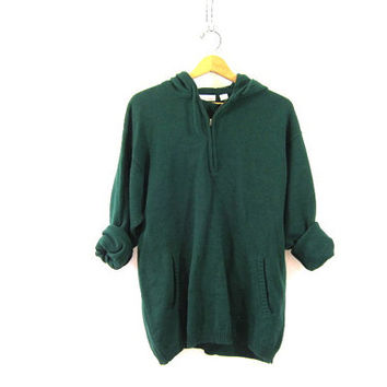 vintage hooded sweater. dark green pullover sweater. oversized small